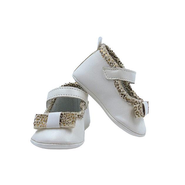 Ballerina culla in pelle dettagli maculati | Calzature neonato | VictoriaKids