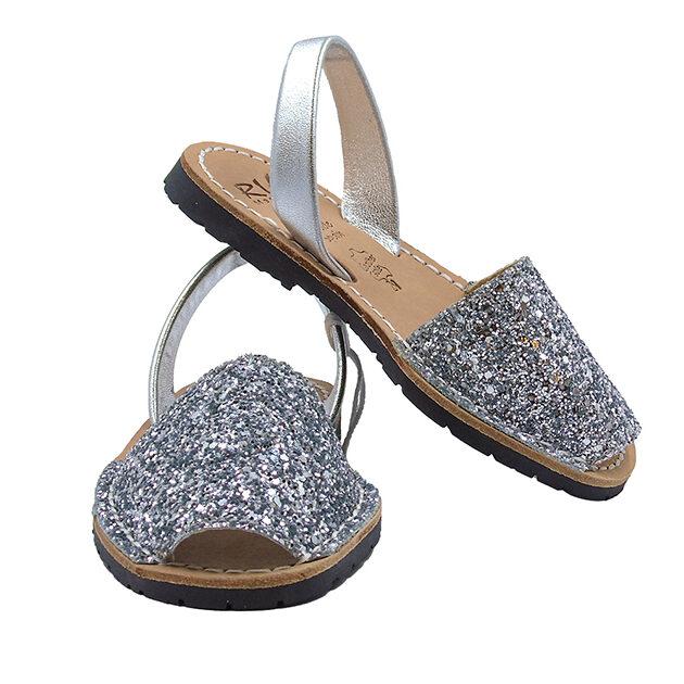 Minorchine Ria in pelle con glitter | Calzature bambina | VictoriaKids