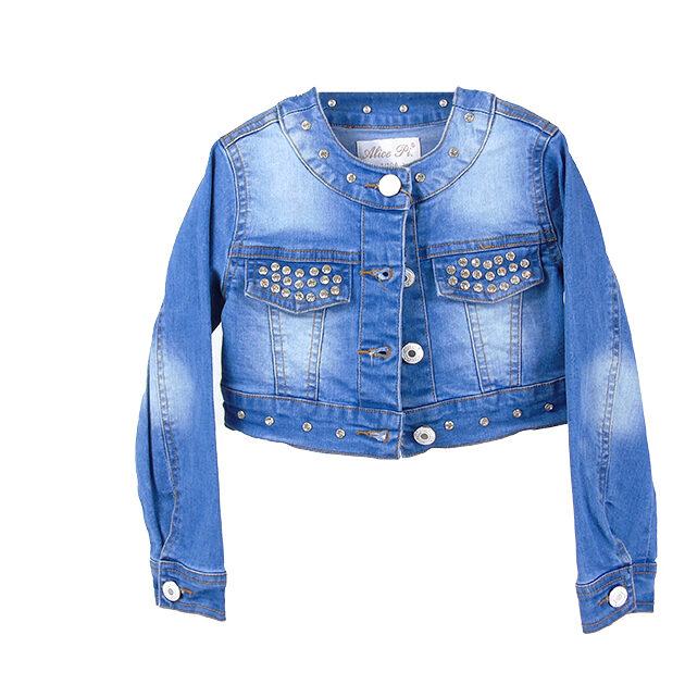 Giubbotto di jeans con strass | Abbigliamento bambino | VictoriaKids